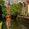 Widok na wieżę kościoła ś<br />w. Katarzyny i Kanał Radu<br />ni ::